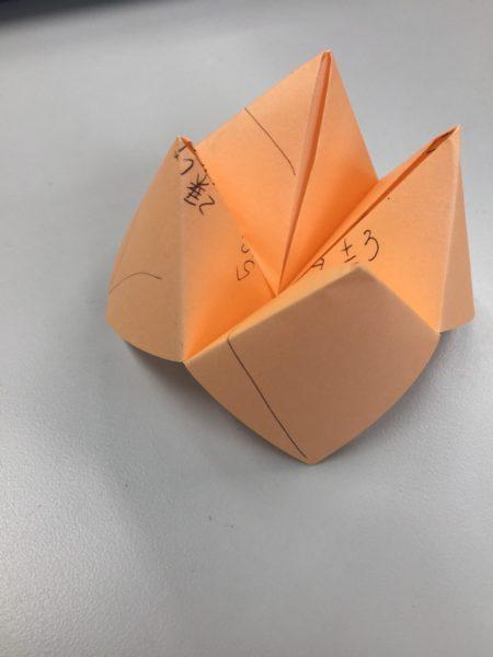 平方根の説明で使った折り紙が、上手に作品に。